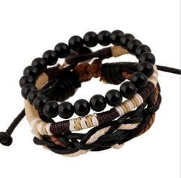 Canada 3 PCS Élastique Bracelet Ensembles 2017 Hommes Vintage Charme Bracelets Mâle Perles En Bois Fil Tissé Réglable En Cuir Wrap Bracelet 5SETS cheap elastic threads Offre