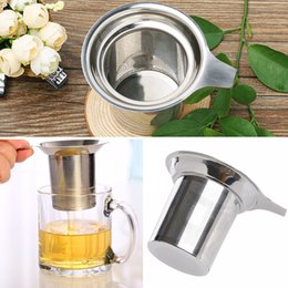 Wholesale Tea Infuser Cup Wholesale - 304 Stainless Steel Mesh Cup Reusable Strainer Herbal Locking Tea Filter Infuser Spice Loose Tea Leaf Spice Filter EMS Free Shipping
