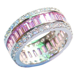 Wholesale pink cz wedding ring sets - Luxury 925 Sterling Silver Pink Topaz Pave setting full CZ Diamond Gemstone Rings Jewelry Wedding Bride Bands Ring For Women