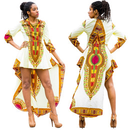 Wholesale Capped Sleeved Dresses - African Dress New Arrival African Clothing Traditional 2017 New Folk Style Batik Cotton Short Sleeved Dress Printing Pharaoh