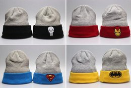 Wholesale Superman Hat Fitted - 2016 Men Hats Hip-Hop Unisex Batman Superman Beanies Wen's Women's Autumn Winter Warm Knitted Cotton Wool Hats Snapback Skull Caps