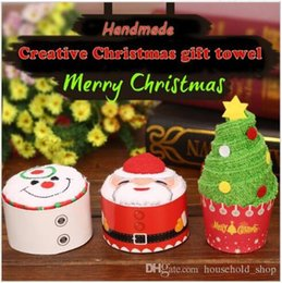 Wholesale Towel White Hands - 2017 Christmas Gift Towel 30x30cm Christmas Tree Santa Claus Christmas Snowman White Green Red 5pcs Each Bag