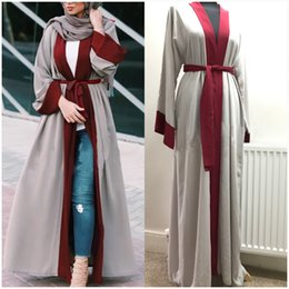 Wholesale Flare Coats - Middle East Cardigan Muslim Sashes Piping Long Robe Patchwork Striped Mermaid Dress V-Neck Kimono Sleeve Coat Women Flare Trench Outerwear