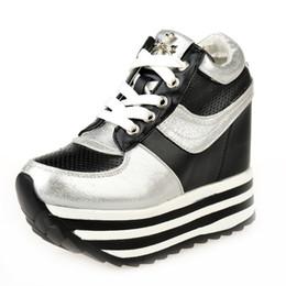 Wholesale Sneaker Platform Women - Women Spring Summer 12cm High Heeled Wedge Sneakers Mesh Breathable Korean Female Platform Tide Height Increasing Shoes 35-39