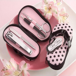 Wholesale flip flop sets - 100sets slipper style Pink Polka Dot Purse Manicure Set Shower Favors Flip Flop Nail scissor Care Pedicure Set Free shipping