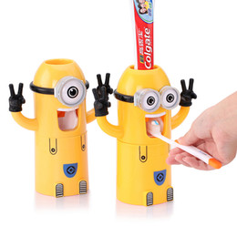 Wholesale Toothbrush Automatic Toothpaste - Home Bathroom Products Cute Design Set Cartoon yellow Minions Toothbrush Holder Automatic Toothpaste Dispenser Toothpaste holder
