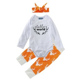 Wholesale Three Years Girls Clothes - 0-2 years old baby infant clothing in the winter of hello world ha clothing + deer head printed pants + hat three-piece suit 40 pcs lot