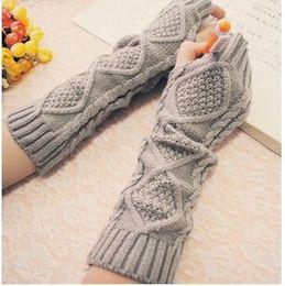 Wholesale Long Black Gloves Girls - Wholesale- New Arrival Women Long Gloves Warmer Knitted Cotton Arm Soft Fingerless Gloves Ladies Girls Mittens gants femme Wholesale ST005