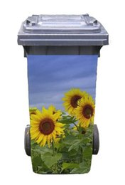 Wholesale Sun Flower Wall Stickers - DIY Sun Flowers Adhesive Removable Waterproof Sticker Decals Rubbish bin trash can Cover sticker for 240liter-37x82cm(14.5''*32.2'')