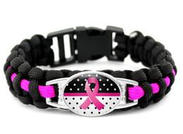 Rosa consapevolezza del cancro online-Commercio all'ingrosso 300 pz nuovi 7 stili Rosa Breast Cancer Fighter Hope Ribbon Consapevolezza Bracciali Paracord Blu Giallo Nero Campeggio Esterno