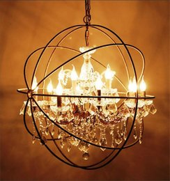 Wholesale Crystal Hardware - Country Hardware Vintage Orb Crystal Chandelier Lighting RH Rustic Iron Candle Chandeliers Light Globe LED Pendant Lamp Home Decoration