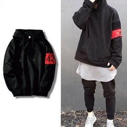 Wholesale Men Plain Hoodies - 2017 Stylish Plain Winter Skateboarding Hoodie Embroidery 424 Band Detail Black Khaki Sale For Men Women
