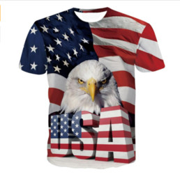Wholesale America Cool - Men Women Fashion 3D t shirt Harajuku Tee Shirts Cool USA Eagle Prints tshirts Male Female Hipster America Flag t shirts tees TX075
