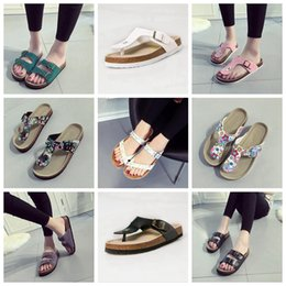 Wholesale Wholesale Rubber Corks - Flip Flops Summer Cork Slipper Woman Flats Sandals Antiskid Slippers Beach Shoes Casual Cool Slipper 19 Colors 2pcs pair OOA1669