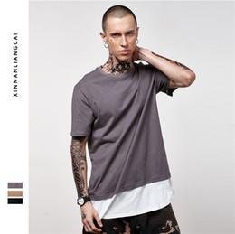 Wholesale Clothes False - New spring and summer of 2017 men's clothing false two extended cotton men's cotton T-shirt arc hem stitching short sleeve men T
