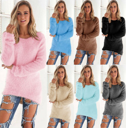 Wholesale Crew Neck Sweaters Wholesale - DHL Free 2017 fashion loose sweaters women autumn loose tops warm solid Color sweater soft autumn long pullovers 8 colors options