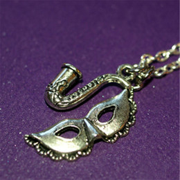 Wholesale Square Mask - 20pcs New Orleans Square, The Princess and the , Mardi Gras Mask and Saxophone Silver tone Charms Necklace