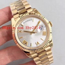 Wholesale Mens Roman Watches - 2017 New Watches Mens Luxury Brand 18ct gold DAYDATE 228238 40mm White Roman dial Automatic mechanical wristwatches for men Original boxes
