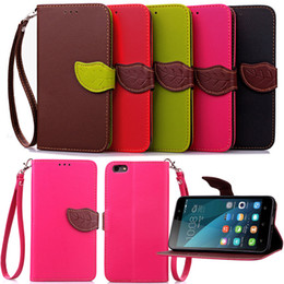 Wholesale Iphone Strap Holder - Leaf Buckle PU Leather Wallet Flip Case Cover Pouch with Card Slot Holder With Strap for Iphone 5 6 6s plus 7 7plus Samsung S6 S7 S7 Edge