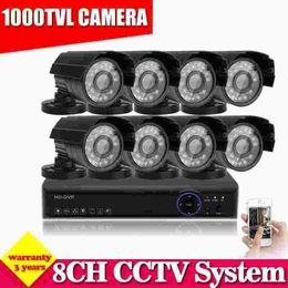 Wholesale Outdoor Cctv Camera Iphone - 1000TVL security camera system 8ch cctv kit 8pcs Outdoor Indoor cctv camera system, iphone andriod remote monitor,multi-language