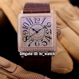 Wholesale Sport H - Super Clone Luxury Brand Cheap New MASTER SQUARE 6000 H SC DT V Rose Gold Diamond Dial Bezel Automatic Mens Watch Leather Strap Watches