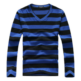 Wholesale green stripe long sleeves sweater - Wholesale- 2016 New Arrive Casual Stripe Sweater Men Pullovers Brand Winter Knitting Long Sleeve V-Neck Slim Knitwear Sweaters Size M-XXL