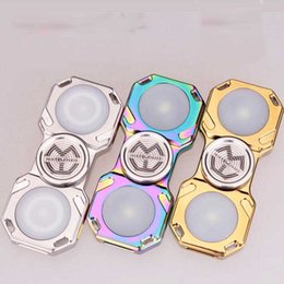 Wholesale Wholesale Brass Brushes - Disassemble Flashing Light Fidget Spinners Decompression Toys Brushed Metal Dual LED Brass 2pc Cutomized Bearing Colorful EDC Fidget Toys