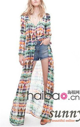 Wholesale Dyed Cardigan - Tie-dyeing long-sleeve chiffon cardigan one-piece dress full dress