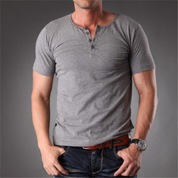 Wholesale Long Body T Shirts Men - Wholesale- Azel Plain Blank T Shirt Men 2017 Grey Stretchy Muscle Body Slim Fit Short Sleeve Top With Buttons Summer Clothes Men MT-1355