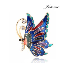 Wholesale Wholesale Custom Designs China - 100PCS Lot Newest design Accept Custom made 2 colors ( Black and Blue ) colorful enamel alloy Shining butterfly Brooch pin wholesale