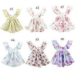 Wholesale korean children party dress - New Arrival Girls Summer Floral Print Halter Sundress Party Dress Princess Korean Children Dresses Kids Flower Print Dress 2017 Summer