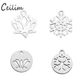 Wholesale Lotus Flower Bracelets - Small Hollow Snowflake Lotus Charms Round Stainless Steel Metal Charm Pendant For Bracelet & Necklace DIY Making Jewelry Supplies Wholesaler