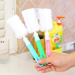 Съемные щетки онлайн-Новый творческий съемная губка чашка щетка многофункциональный длинная ручка щетка для очистки кухня инструмент для очистки IA971