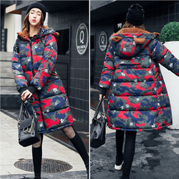 Wholesale Hooded Genuine Rabbit Fur Coat - Women winter Jacket Camouflag Loose Plus Size Long Parka Rabbit Ear Cap down jacket Women Padded Hooded Parkas Coats Casual Wadded Outwear