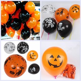 Wholesale Orange Black Balloons - Halloween Evening Party Balloons Black Orange Pumpkin Skull Spider Latex Balloons Party Decor Halloween Decorations YYA322