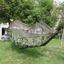 Wholesale Ultralight Hammock Camping - Wholesale- 250*140CM Camouflage Ultralight Outdoor Camping Hunting Mosquito Net Parachute Hammock 1 Person Garden Hamac
