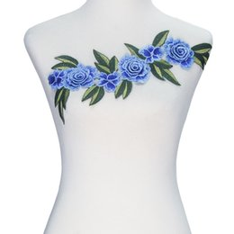 Wholesale Fabric Embellishments Lace - 1piece 3D Blue Flower Embroidery Applique Lace Cord Motif Fabric Patches Embellishments Sew on Garment Decoration Sewing T2366