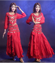 Wholesale Cheap Belly Dance Costumes - Belly Dancing Costume Women New Arrival Set 3 Pcs (Top+Skirt+Belt)Coins Belly Dance 7 Color Cheap Indian Dance Dress