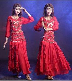 Wholesale Cheap Women Skirt Sets - Belly Dancing Costume Women New Arrival Set 3 Pcs (Top+Skirt+Belt)Coins Belly Dance 7 Color Cheap Indian Dance Dress