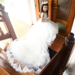 crows bow Promo Codes - Princess White Flower Girl Dresses for Vintage Wedding Long Train Ruffles Organza Lace Crew Sequin High Low Custom Made 2017 Communion Dress