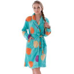 Wholesale Fleece Sleepwear Women - Wholesale- New Women Coral Fleece Winter Autumn Warm Bathrobe Nightgown Kimono Dressing Gown Sleepwear Robe For Lady
