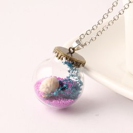 Wholesale Vial Diy - Natural Dry Flower Necklace Glass Ball Cover With Antique Bronze Base Glass Bubble DIY Vial Pendant Fill Conch Colorful Beads