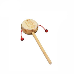 Wholesale Music Instruments For Kids Wholesale - Wholesale- Durable Colorful Music Toy Cute Wooden Hand Shaking Drum Rattle Sound Toy Musical Instrument Best Gift for Baby Kid Child