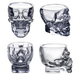 Wholesale Tv China Free Shipping - Glass Skull Mug Creative Crystal Skull Mug Home Parties Mini Crystal Glass Mug Cup For Red Wine Vodka Free Shipping