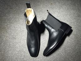 Wholesale Slip Shoes Men Cowboy - France Gentleman Perfect Wedding Banquet Shoes Red Bottom Boots Roadie Flat Narrow Heel Men Shoes Black Genuine Leather Original Quality