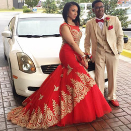 Wholesale Womens Red Long Evening Dress - Sexy Long Mermaid Evening Dress Formal Dresses Red Prom Dresses 2016 with Gold Lace Appliques Beaded Womens Custom Made Formal Gowns