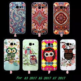 Wholesale Owl Phone Covers - Mandala Flower Owl TPU Soft Case For Samsung Galaxy S8 2017 A3 A5 A7 A320 A520 A720 Fashion Bling Glossy Bird Henna Phone Skin Cover 100pcs