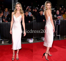 pink lily pictures Promo Codes - Deep V-neck Silver Ankle Length Evening Prom Dresses Lily Donaldson London 2019 Sheath Backless Special Occasion Dress for Celebrity Party
