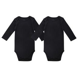 Wholesale Long Sleeve Bodysuit 12 Months - Unisex Baby Girls Boy Clothing Newborn Baby Bodysuit Black 100% Soft Cotton 0-12 Months Long Sleeve Baby Clothes 2 PCS Lot