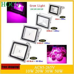 Wholesale Grow Lights Rgb - Wholesale-2015 Brand New 10W 20W 30W 50W Blue 554nm Red 660nm Hydroponic Plant Flood LED Grow Lights Water Proof